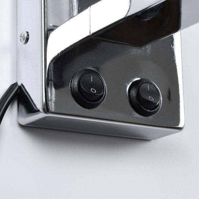 ELEGANT 01495 Μοντέρνο Φωτιστικό Τοίχου Απλίκα Μεταλλικό Χρώμιο Νίκελ με Λευκό Ύφασμα Δίφωτο 1xE27 - Ρυθμίζόμενο Σώμα Σπιράλ με CREE LED 3W Θερμό Λευκό 2700K - Διακόπτες On / Off Μ17 x Π21 x Υ43cm - 7