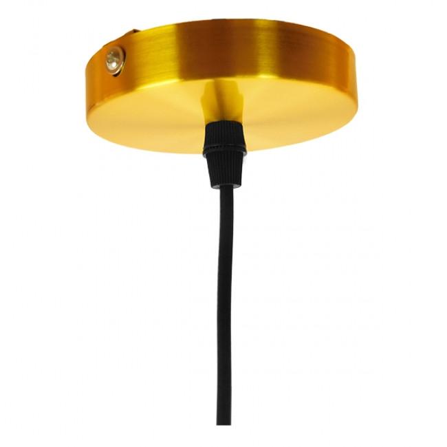 Vintage Κρεμαστό Φωτιστικό Οροφής Μονόφωτο Μαύρο Γυάλινο Διάφανο Καμπάνα με Χρυσό Ντουί Φ14 GloboStar SEGRETO BLACK 01449 - 8