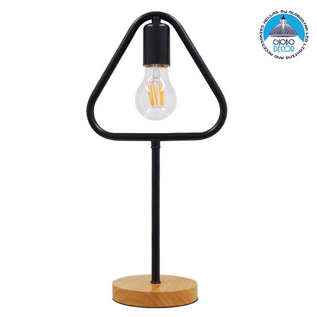 Μοντέρνο Επιτραπέζιο Φωτιστικό Πορτατίφ Μονόφωτο Μαύρο Μεταλλικό με Ξύλινη Βάση Δρυς  HONOR TRIANGLE 01436 - 1