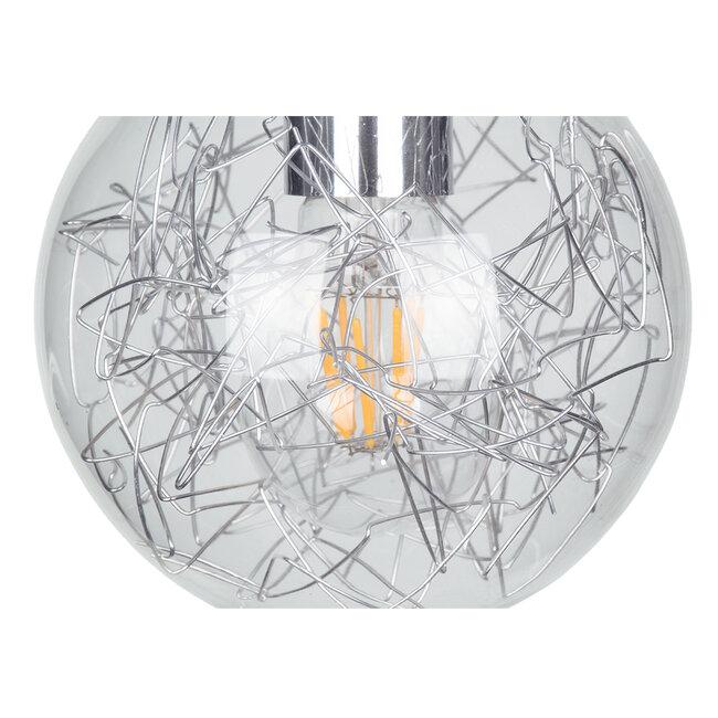 LAMP 01676 Μοντέρνο Κρεμαστό Φωτιστικό Οροφής Μονόφωτο Ασημί Νίκελ Μεταλλικό Διάφανο Γυαλί Φ15 x Υ27cm - 7