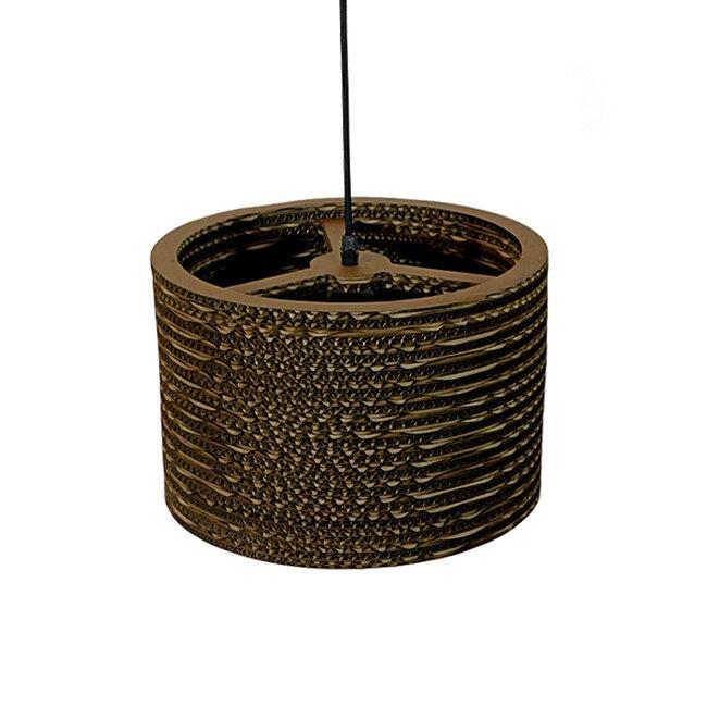 Vintage Κρεμαστό Φωτιστικό Οροφής Μονόφωτο 3D από Επεξεργασμένο Σκληρό Καφέ Χαρτόνι Καμπάνα Φ30 GloboStar PAROS 01290 - 6