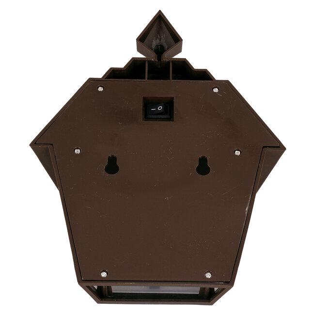71493 Αυτόνομο Ηλιακό Φωτιστικό Τοίχου Καφέ LED SMD 1W 100lm με Ενσωματωμένη Μπαταρία 600mAh - Φωτοβολταϊκό Πάνελ με Αισθητήρα Ημέρας-Νύχτας IP65 Ψυχρό Λευκό 6000K - 7