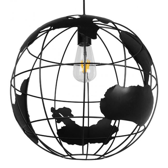 Vintage Industrial Κρεμαστό Φωτιστικό Οροφής Μονόφωτο Μαύρο Μεταλλικό Πλέγμα Φ40 GloboStar EARTH BLACK 40CM 01663 - 1