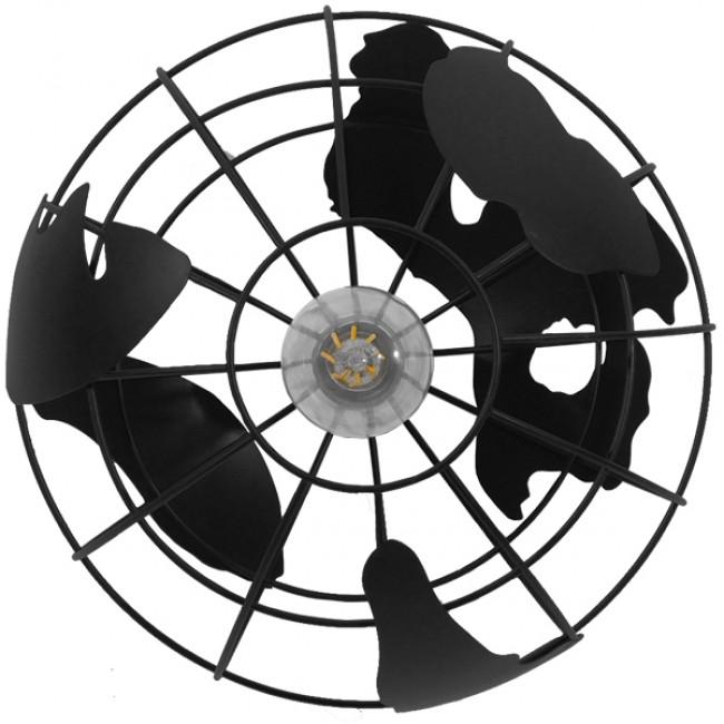 Vintage Industrial Κρεμαστό Φωτιστικό Οροφής Μονόφωτο Μαύρο Μεταλλικό Πλέγμα Φ30  WORLD 01205 - 7