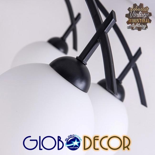 Μοντέρνο Φωτιστικό Οροφής Πολύφωτο Μαύρο Μεταλλικό με Λευκό Γυαλί Φ63  LUNA 01088 - 4