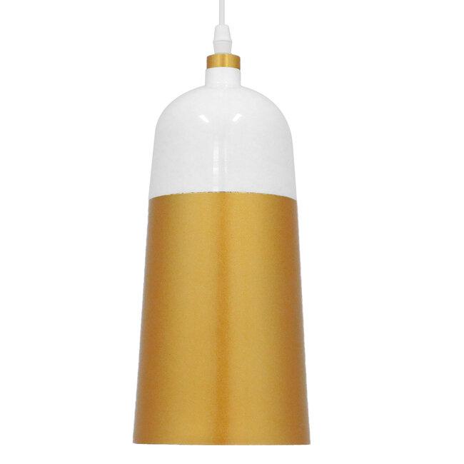Μοντέρνο Κρεμαστό Φωτιστικό Οροφής Μονόφωτο Λευκό - Χρυσό Μεταλλικό Καμπάνα Φ14  PALAZZO GOLD WHITE 01524 - 5