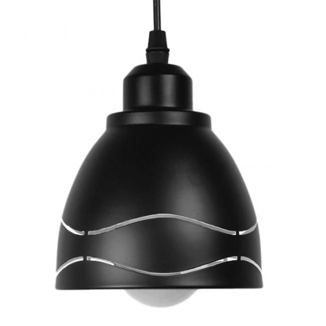 Μοντέρνο Κρεμαστό Φωτιστικό Οροφής Μονόφωτο Μεταλλικό Μαύρο Λευκό Καμπάνα Φ13  LAGUNA 01477 - 3
