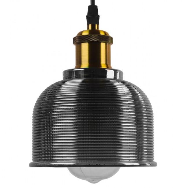 Vintage Κρεμαστό Φωτιστικό Οροφής Μονόφωτο Μαύρο Γυάλινο Διάφανο Καμπάνα με Χρυσό Ντουί Φ14 GloboStar SEGRETO BLACK 01449 - 3