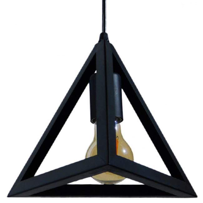 Μοντέρνο Κρεμαστό Φωτιστικό Οροφής Μονόφωτο Μαύρο Μεταλλικό Πλέγμα Φ25 GloboStar TRIANGLE 01063 - 6
