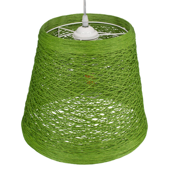 PLAYROOM 00864 Vintage Κρεμαστό Φωτιστικό Οροφής Μονόφωτο Πράσινο Ξύλινο Ψάθινο Rattan Φ32 x Υ27cm - 7