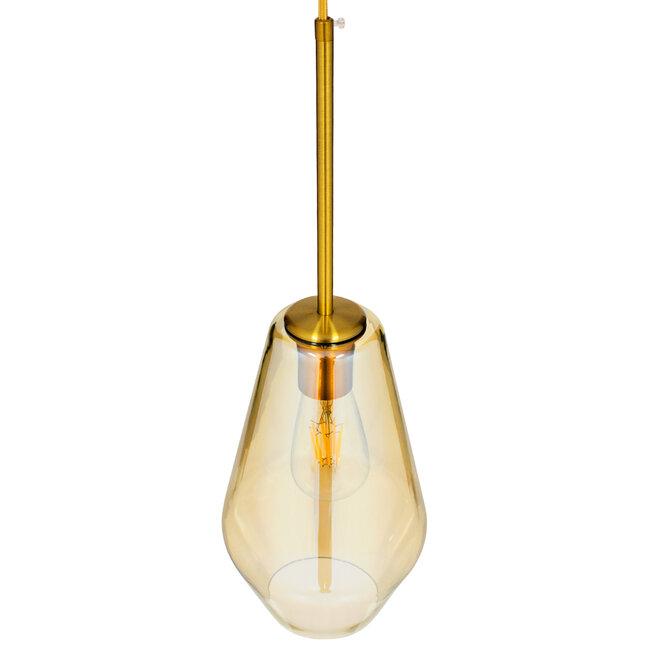 GloboStar® AMARIS 00871 Μοντέρνο Κρεμαστό Φωτιστικό Οροφής Μονόφωτο Γυάλινο Φιμέ Μελί Φ17 x 30CM - 6