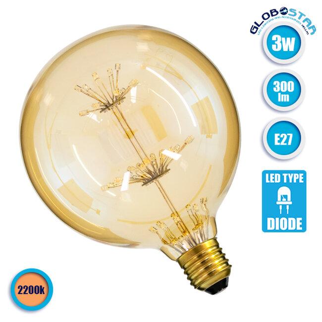 Λάμπα E27 G125 MTX Γλόμπος DIODE HP LED String 3W 300 lm 320° AC 85-265V Edison Retro με Μελί Γυαλί Ultra Θερμό Λευκό 2200 K GloboStar 99201