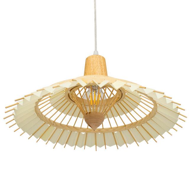 VENTALIA 00897 Vintage Κρεμαστό Φωτιστικό Οροφής Μονόφωτο Μπεζ Ξύλινο Bamboo Φ40 x Y22cm - 5