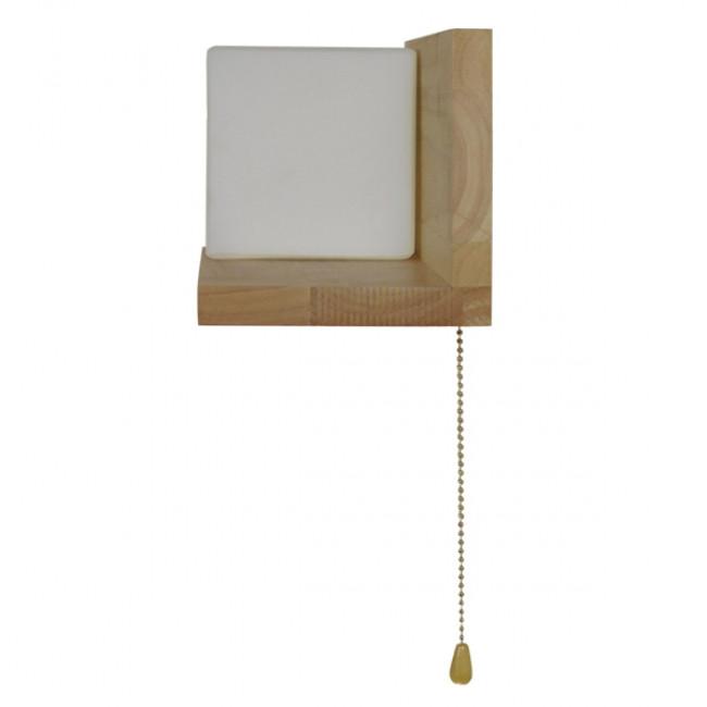 Μοντέρνο Φωτιστικό Τοίχου Απλίκα Ραφάκι Μονόφωτο Ξύλινο με Λευκό Ματ Γυαλί GloboStar AMITY LEFT 01365 - 10