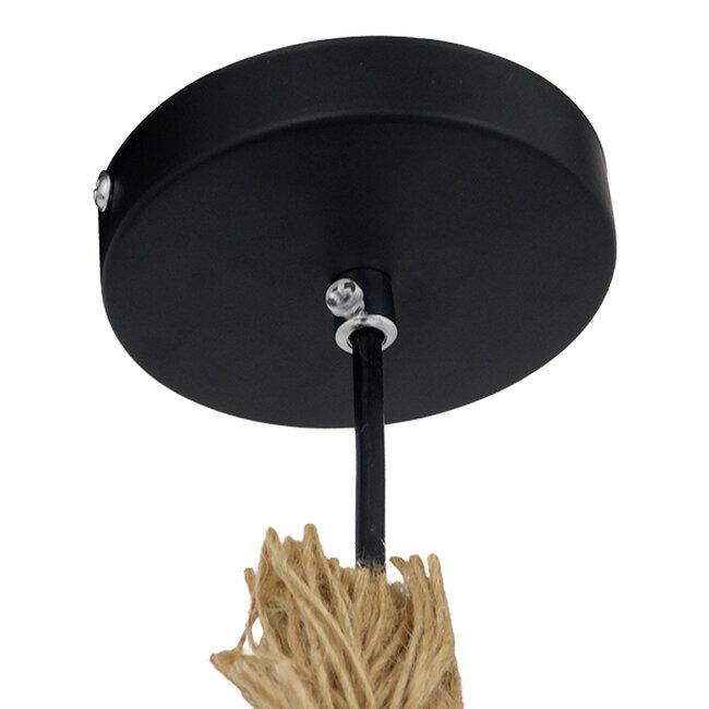Vintage Industrial Κρεμαστό Φωτιστικό Οροφής Μονόφωτο με 2 μέτρα Μπεζ Σχοινί  ROPE 01018 - 4