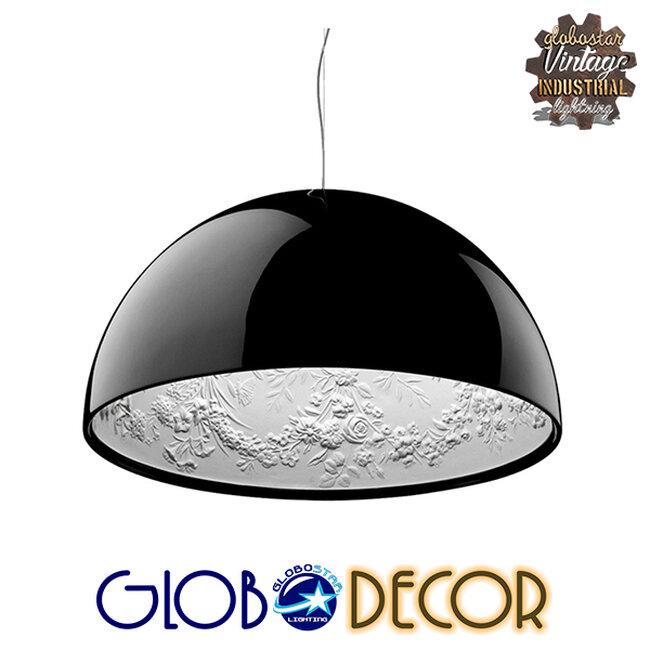 Μοντέρνο Κρεμαστό Φωτιστικό Οροφής Μονόφωτο Μαύρο Γύψινο Καμπάνα Φ40  SERENIA BLACK 01151 - 4