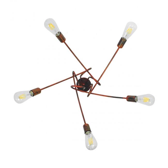 Μοντέρνο Industrial Φωτιστικό Οροφής Πολύφωτο Καφέ Σκουριά Μεταλλικό Φ76  QUARZO 01564 - 6