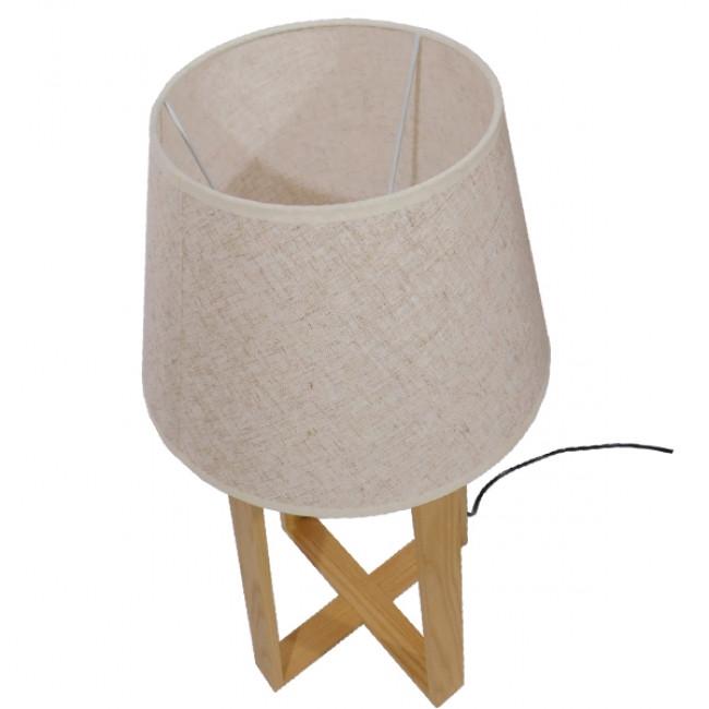 Μοντέρνο Επιτραπέζιο Φωτιστικό Πορτατίφ Μονόφωτο Ξύλινο με Μπεζ Καπέλο Φ30 GloboStar SQUID 01265 - 10