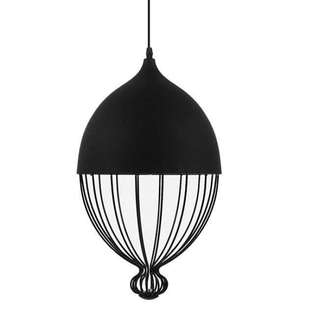 Vintage Κρεμαστό Φωτιστικό Οροφής Μονόφωτο Μαύρο Μεταλλικό Πλέγμα Φ28 GloboStar CANARIO 01107 - 3