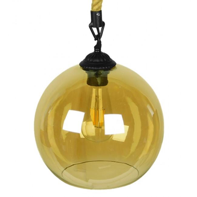 Μοντέρνο Κρεμαστό Φωτιστικό Οροφής Μονόφωτο με 1 Μέτρο Μπεζ Σχοινί Γυάλινο Μελί Διάφανο Φ25 GloboStar LENHAM 01668 - 5