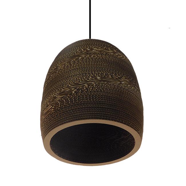 Vintage Κρεμαστό Φωτιστικό Οροφής Μονόφωτο 3D από Επεξεργασμένο Σκληρό Καφέ Χαρτόνι Καμπάνα Φ35  SKIATHOS 01296 - 3