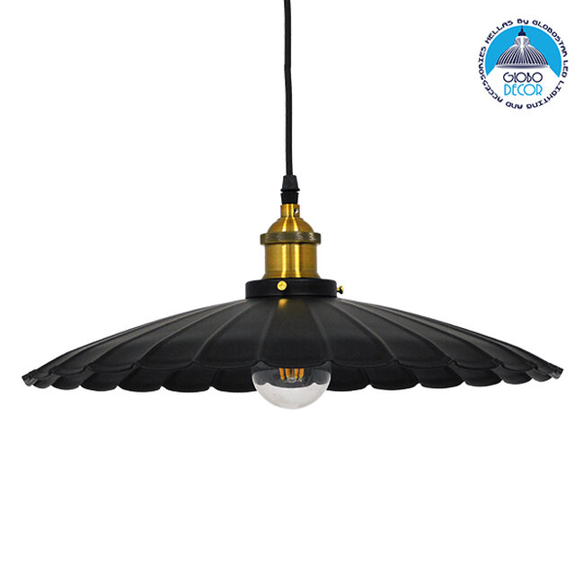 Vintage Industrial Κρεμαστό Φωτιστικό Οροφής Μονόφωτο Μαύρο Μεταλλικό Καμπάνα Ø40xY15cm GloboStar MARGI Ø40 00982 - 1