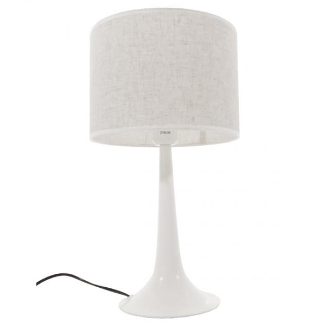 Μοντέρνο Επιτραπέζιο Φωτιστικό Πορτατίφ Μονόφωτο Μεταλλικό με Λευκό Καπέλο Φ25 GloboStar AMBROSIA WHITE 01395 - 3