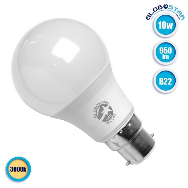Γλόμπος LED A60 με βάση B22 10 Watt 230v Θερμό GloboStar 01684