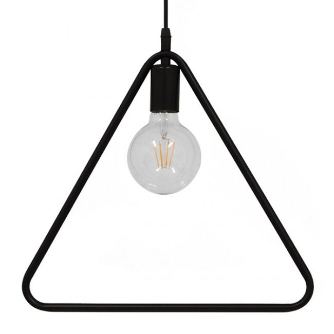 Μοντέρνο Κρεμαστό Φωτιστικό Οροφής Μονόφωτο Μαύρο Μεταλλικό GloboStar DELTA BLACK 01580 - 4