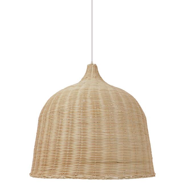 Vintage Κρεμαστό Φωτιστικό Οροφής Μονόφωτο Μπεζ Ξύλινο Ψάθινο Rattan Φ60  ROOSEVELT 01370 - 4