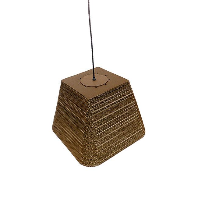 Vintage Κρεμαστό Φωτιστικό Οροφής Μονόφωτο 3D από Επεξεργασμένο Σκληρό Καφέ Χαρτόνι Καμπάνα Φ38  CORFU 01295 - 6