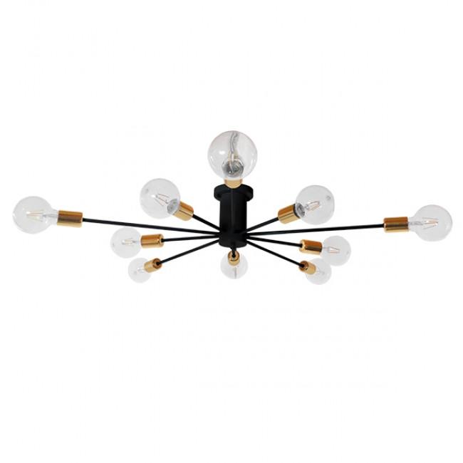 Μοντέρνο Industrial Φωτιστικό Οροφής Πολύφωτο Μαύρο Μεταλλικό Φ122 GloboStar OLINDA 01244 - 2