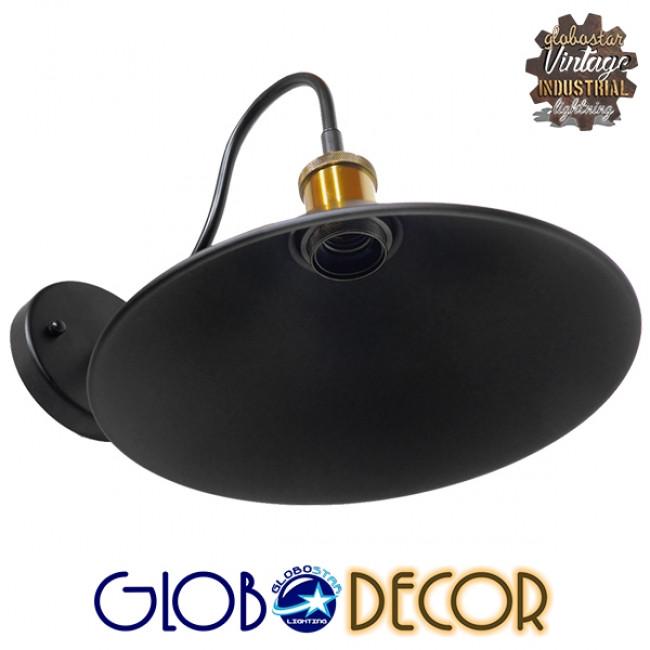 Vintage Φωτιστικό Τοίχου Απλίκα Μονόφωτο Μαύρο Μεταλλικό με Καπέλο Φ26 GloboStar ANBET 01121 - 6