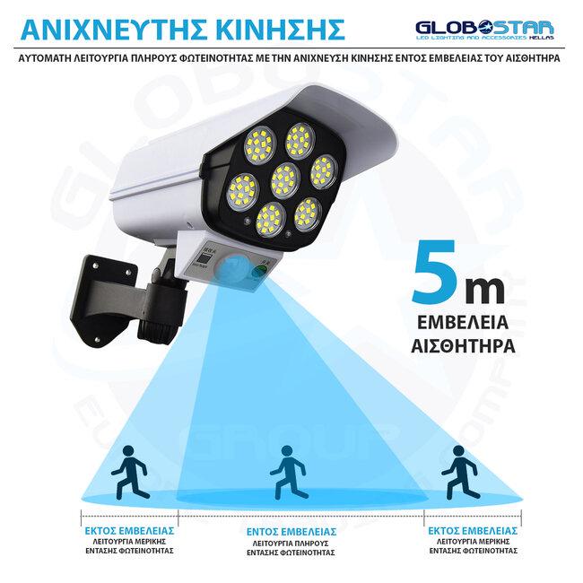 GloboStar® 71507 Αυτόνομο Ηλιακό Φωτιστικό Σχήμα Κάμερας LED SMD 20W 2000 lm με Ενσωματωμένη Μπαταρία 2600mAh - Φωτοβολταϊκό Πάνελ με Αισθητήρα Ημέρας-Νύχτας και PIR Αισθητήρα Κίνησης IP65 Ψυχρό Λευκό - 9