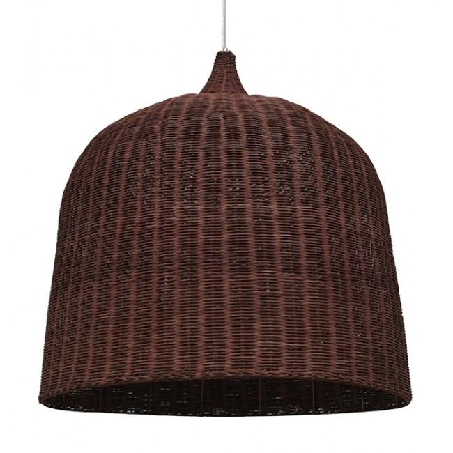 Vintage Κρεμαστό Φωτιστικό Οροφής Μονόφωτο Καφέ Σκούρο Ξύλινο Ψάθινο Rattan Φ90 GloboStar EDEN 01569 - 1