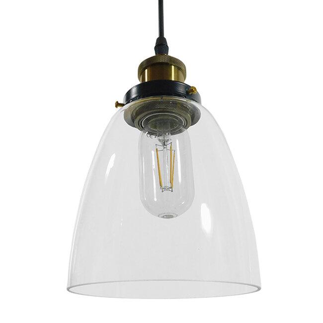 Vintage Κρεμαστό Φωτιστικό Οροφής Μονόφωτο Γυάλινο Καμπάνα Φ14  WICKHAM 01168 - 5