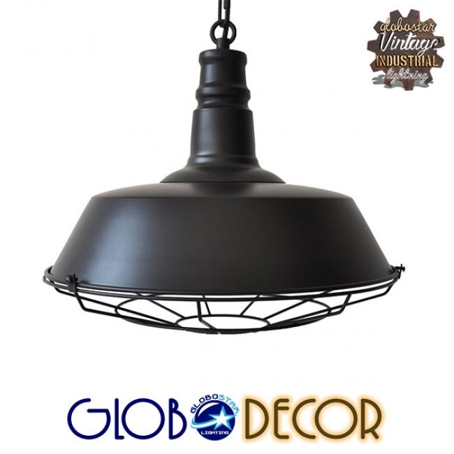 Vintage Industrial Κρεμαστό Φωτιστικό Οροφής Μονόφωτο Μαύρο Μεταλλικό Καμπάνα Φ46 GloboStar BARN BLACK 01048 - 3