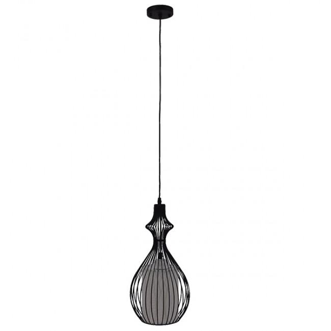 Μοντέρνο Κρεμαστό Φωτιστικό Οροφής Μονόφωτο Μαύρο Μεταλλικό Πλέγμα με Υφασμάτινο Εσωτερικό Καπέλο Φ21 GloboStar THYDA 01197 - 2