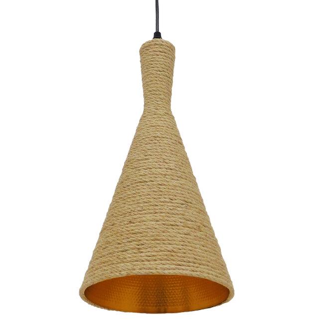 Vintage Κρεμαστό Φωτιστικό Οροφής Μονόφωτο με Μπεζ Σχοινί Καμπάνα  BEIJING Φ20 00918 - 6