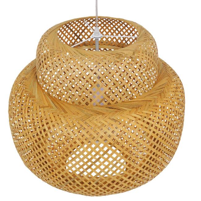 Vintage Κρεμαστό Φωτιστικό Οροφής Μονόφωτο Καφέ Ξύλινο Bamboo Φ56  MALVIDES LIGHT BROWN 01657 - 7