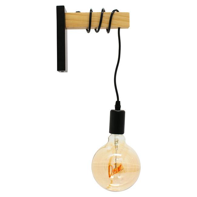 KEELA 00880 Μοντέρνο Φωτιστικό Τοίχου Απλίκα Μονόφωτο Μαύρο με Ξύλο 6.5x18x30cm - 2
