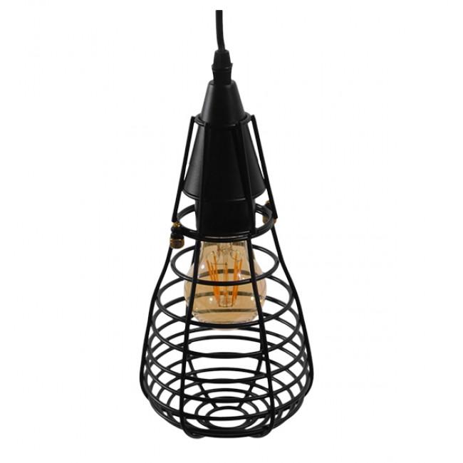 Vintage Industrial Κρεμαστό Φωτιστικό Οροφής Μονόφωτο Μαύρο Μεταλλικό Πλέγμα Φ13 GloboStar ALDO 01058 - 4