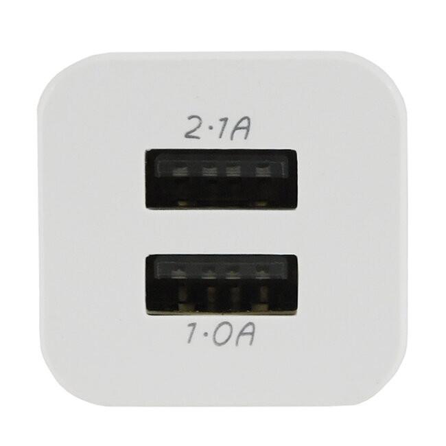 Φορτιστής USB 2 Θέσεων Wall Adapter 2.1A & 1A 5V DC Λευκός με Χρώμιο GloboStar 69996 - 4