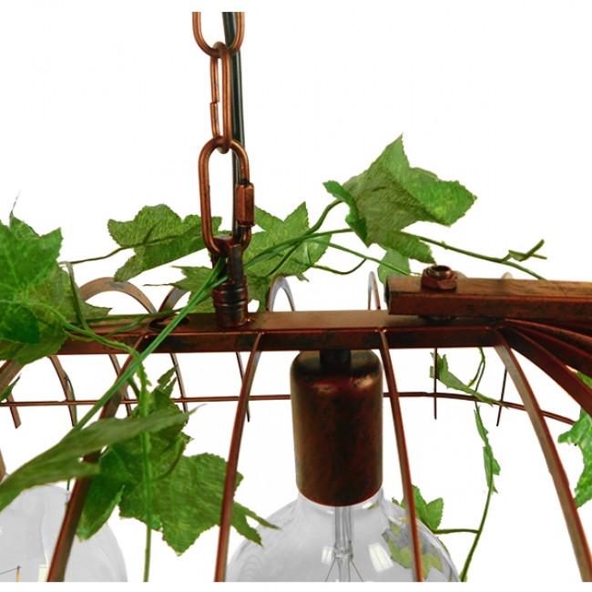 Vintage Industrial Κρεμαστό Φωτιστικό Οροφής Τρίφωτο Καφέ Σκουριά Μεταλλικό Πλέγμα GloboStar ARMONIA 01648 - 7
