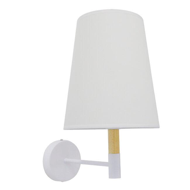 Μοντέρνο Φωτιστικό Τοίχου Απλίκα Μονόφωτο Λευκό με Μπέζ Ξύλο Μεταλλικό Φ20  LYDFORD WHITE 01433 - 4