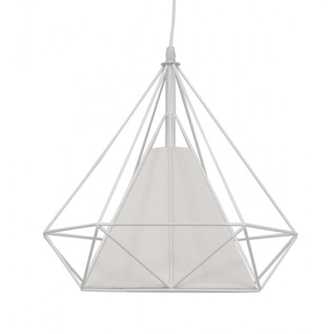 Μοντέρνο Industrial Κρεμαστό Φωτιστικό Οροφής Μονόφωτο Λευκό με Ύφασμα Μεταλλικό Πλέγμα Φ38 GloboStar KAIRI WHITE 01619 - 3