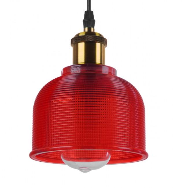 Vintage Κρεμαστό Φωτιστικό Οροφής Μονόφωτο Κόκκινο Γυάλινο Διάφανο Καμπάνα με Χρυσό Ντουί Φ14 GloboStar SEGRETO RED 01450 - 1