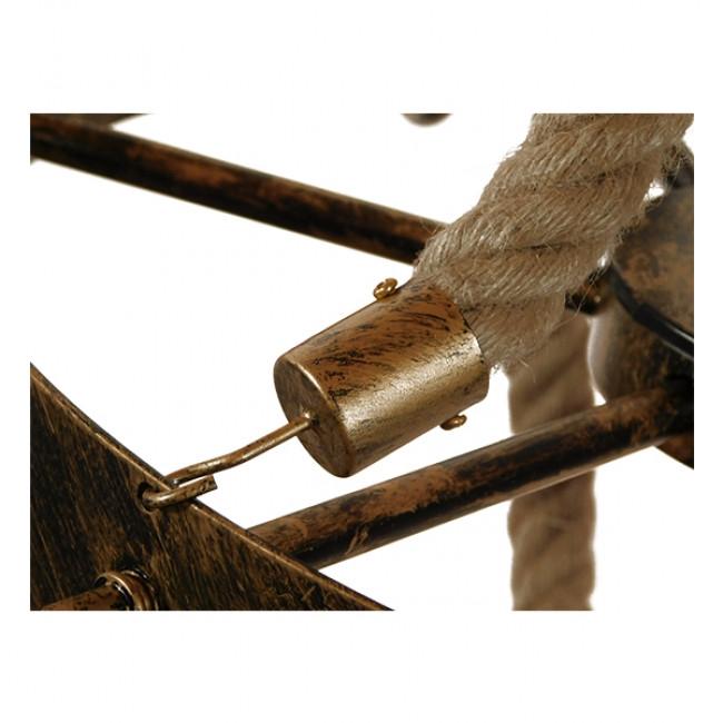 Vintage Κρεμαστό Φωτιστικό Οροφής Πολύφωτο Μπρούτζινο Σκουριά Μεταλλικό Πολυέλαιος με Μπεζ Σχοινί Φ87  BAVARIAN 01405 - 13
