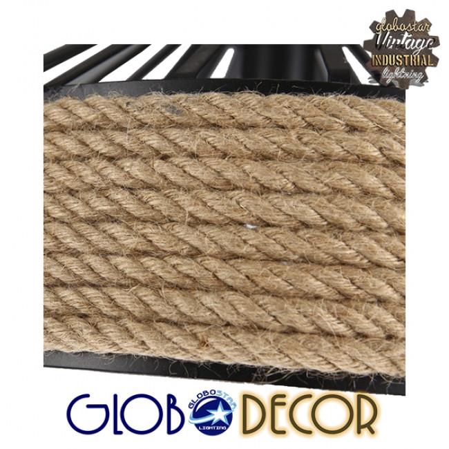 Vintage Κρεμαστό Φωτιστικό Οροφής Μονόφωτο Μαύρο Μεταλλικό με Μπεζ Σχοινί Φ50 GloboStar POLI 01147 - 4