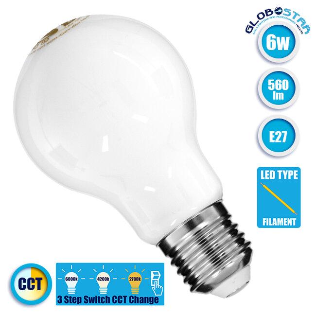 Λάμπα E27 A60 Γλόμπος LED CCT FILAMENT 6W 560 lm 320° AC 85-265V με Λευκό Γαλακτερό Γυαλί 3 Step Switch CCT Change Θερμό Λευκό - Φυσικό Λευκό - Ψυχρό Λευκό GloboStar 99242